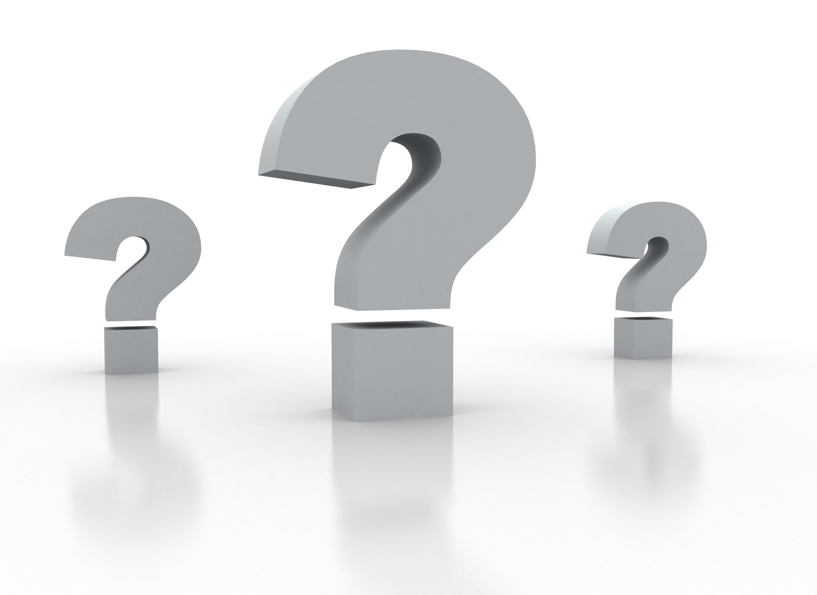 Three Question marks on white background